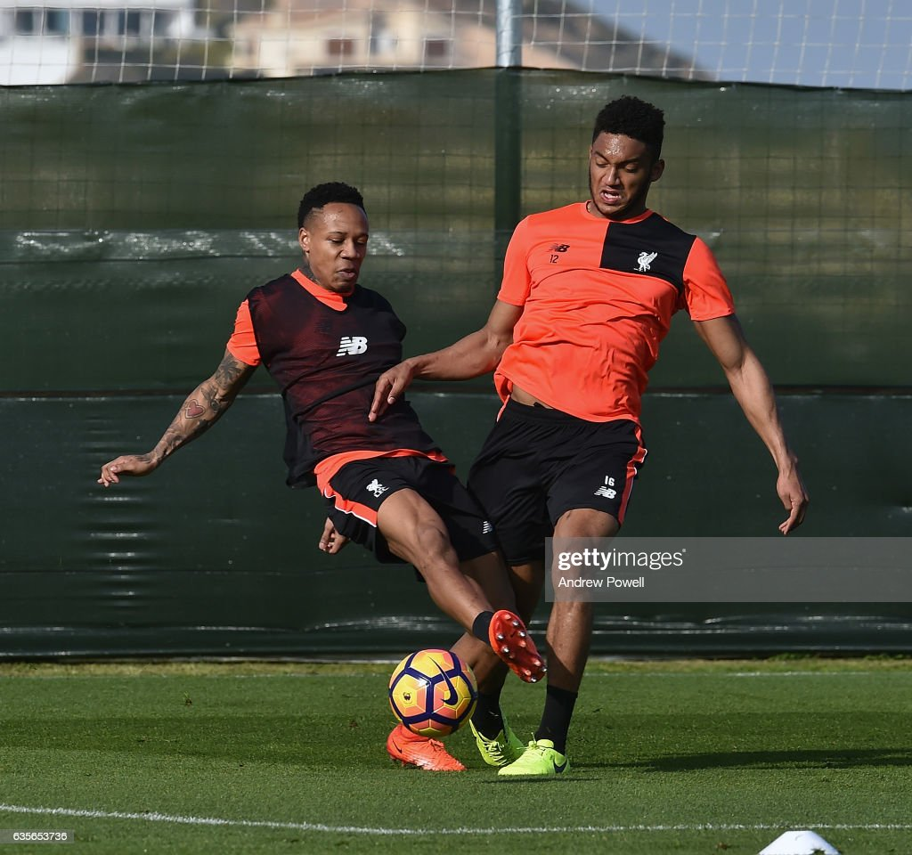 Nathaniel Clyne and Joe Gomez of Liverpool during a training session at La Manga on February 16, 2017 in La Manga, Spain.