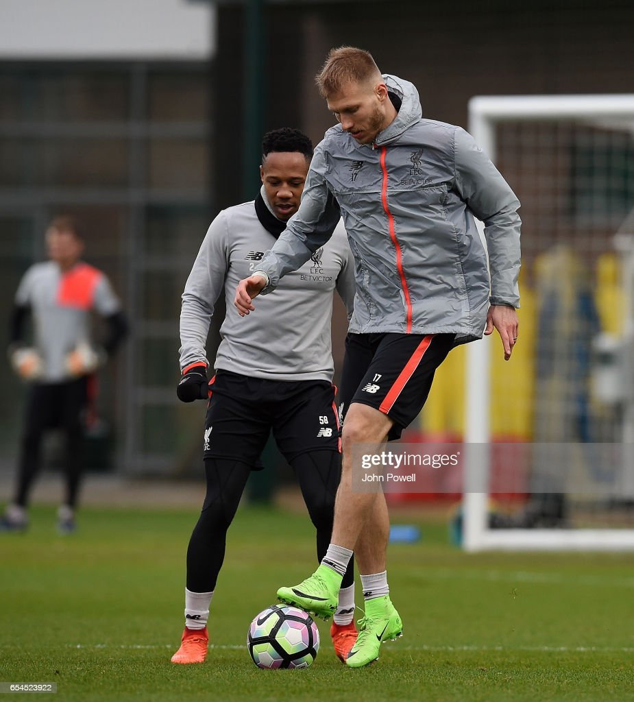 Nathaniel Clyne and Raganr Klavan of Liverpool during a training session at Melwood Training Ground on March 17, 2017 in Liverpool, England.