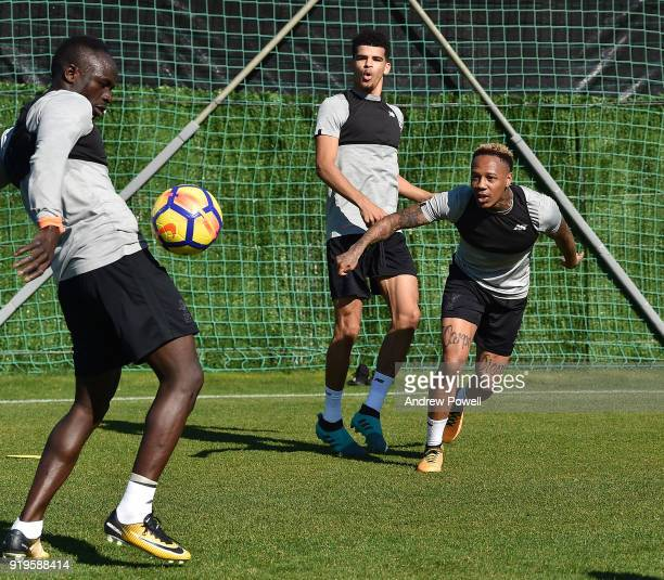 Nathaniel Clyne Dominic Solanke and Sadio Mane of Liverpool during a training session at Marbella Football Center on February 17 2018 in Marbella...
