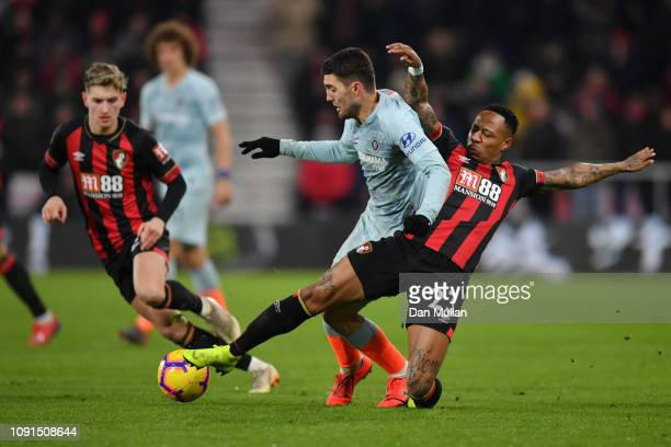 Nathaniel Clyne of AFC Bournemouth tackles Mateo Kovacic of Chelsea during the Premier League match between AFC Bournemouth and Chelsea FC at...