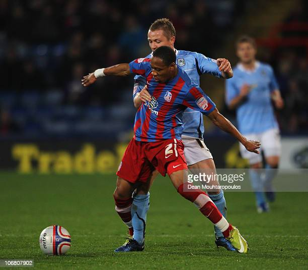 Nathaniel Clyne of Crystal Palace battles with Gary McShefferey of Coventry during the npower Championship match between Crystal Palace and Coventry...