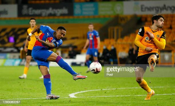 Nathaniel Clyne of Crystal Palace shoots during the Premier League match between Wolverhampton Wanderers and Crystal Palace at Molineux on October 30...