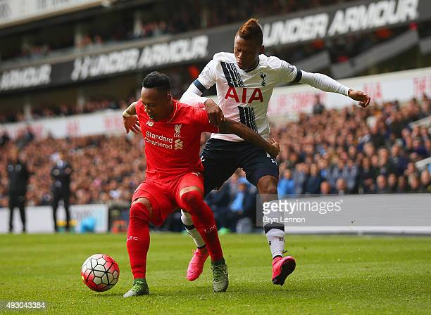 Nathaniel Clyne of Liverpool and Clinton N'Jie of Tottenham Hotspur compete for the ball during the Barclays Premier League match between Tottenham...