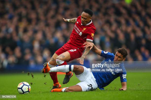 Nathaniel Clyne of Liverpool and Dominic CalvertLewin of Everton during the Premier League match between Everton and Liverpool at Goodison Park on...