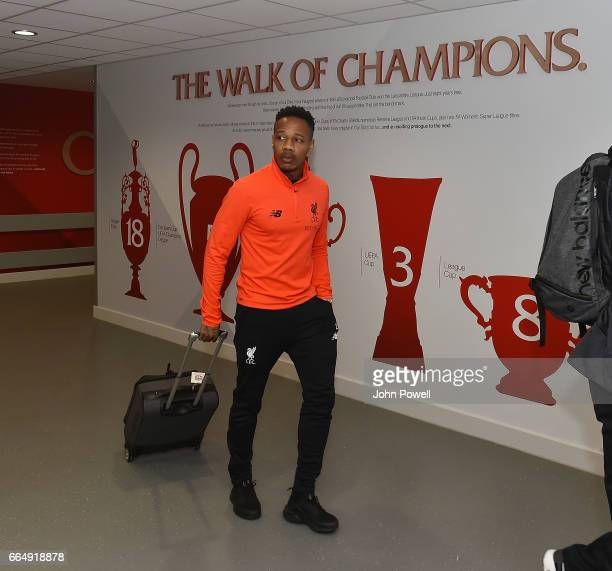 Nathaniel Clyne of Liverpool arrives before the Premier League match between Liverpool and AFC Bournemouth at Anfield on April 5 2017 in Liverpool...