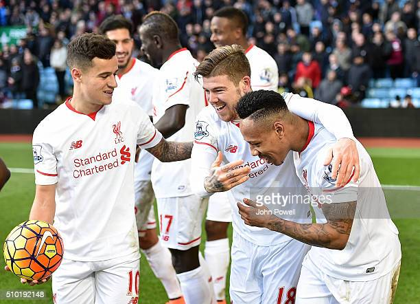 Nathaniel Clyne of Liverpool celebrates after scoring the fifth goal for Liverpool during the Barclays Premier League match between Aston Villa and...