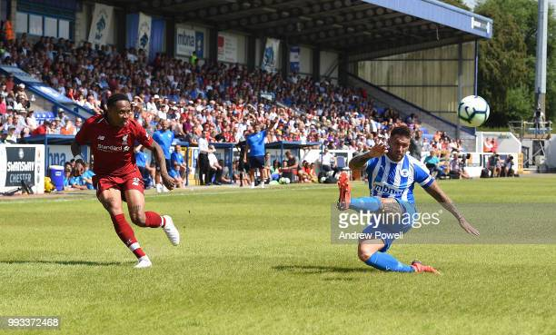 Nathaniel Clyne of Liverpool crosses the ball during the Preseason friendly between Chester FC and Liverpool on July 7 2018 in Chester United Kingdom