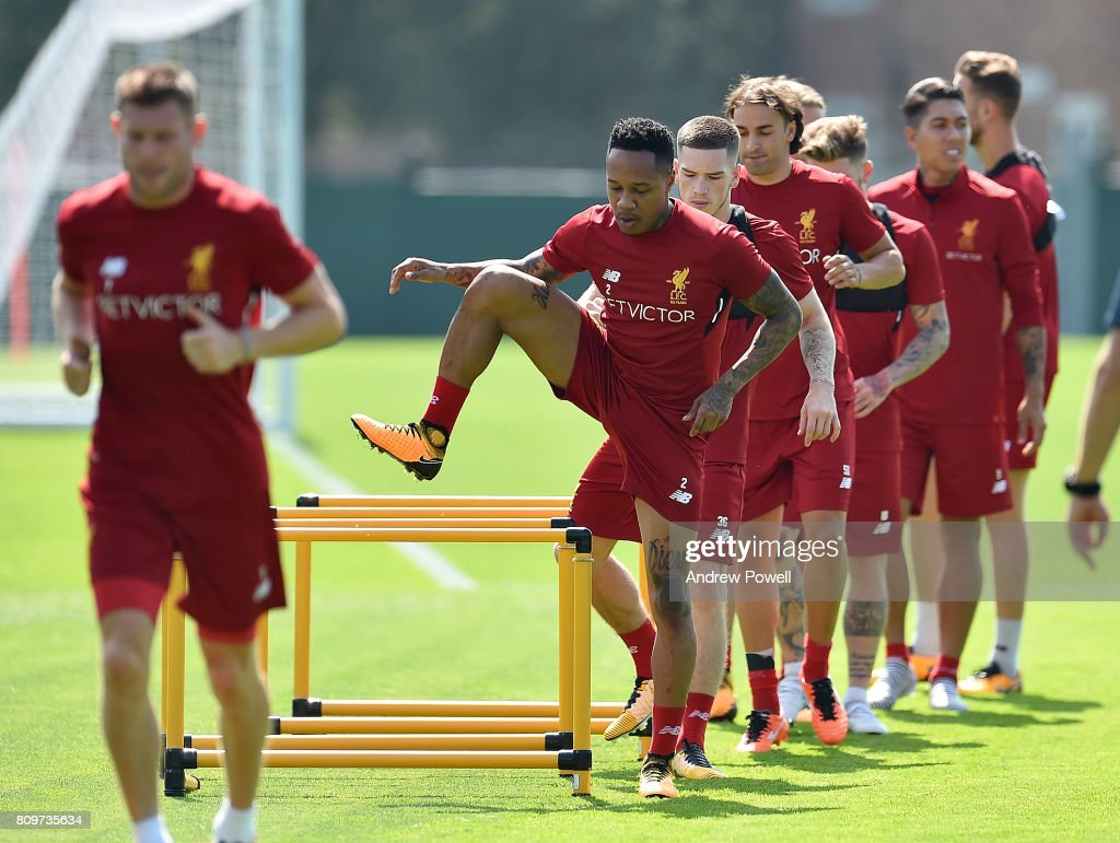 Nathaniel Clyne of Liverpool during a training session at Melwood Training Ground on July 6, 2017 in Liverpool, England.