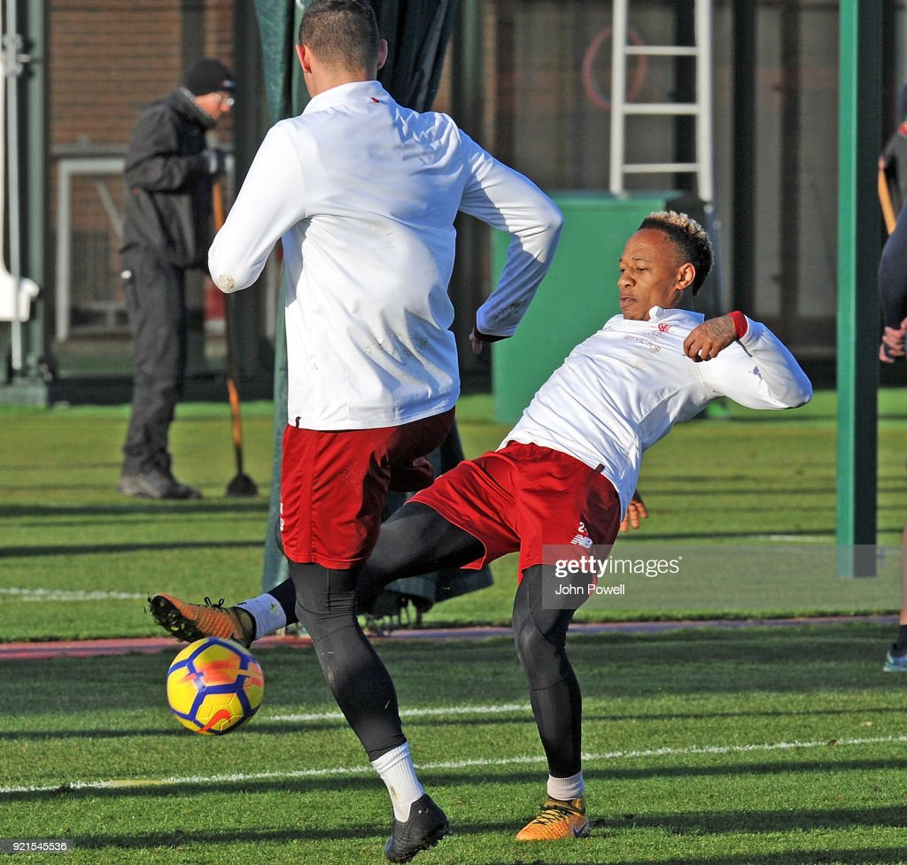 Nathaniel Clyne of Liverpool during a training session at Melwood Training Ground on February 20, 2018 in Liverpool, England.