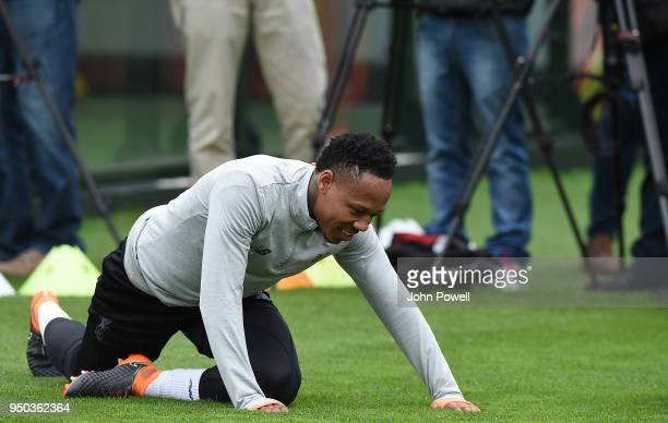 Nathaniel Clyne of Liverpool during a training session at Melwood Training Ground on April 23 2018 in Liverpool England