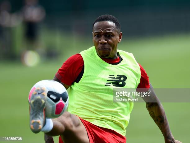 Nathaniel Clyne of Liverpool during a training session at Notre Dame Stadium on July 18, 2019 in South Bend, Indiana.
