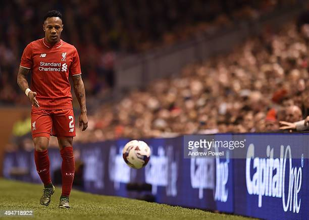Nathaniel Clyne of Liverpool during the Capital One Cup Fourth Round match between Liverpool and AFC Bournemouth at Anfield on October 28 2015 in...