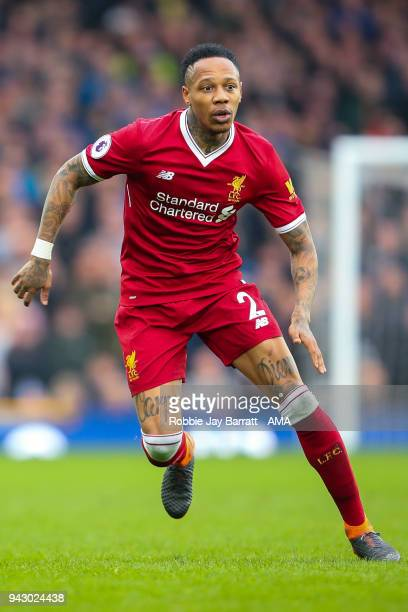 Nathaniel Clyne of Liverpool during the Premier League match between Everton and Liverpool at Goodison Park on April 7 2018 in Liverpool England