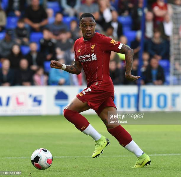 Nathaniel Clyne of Liverpool during the Pre-Season Friendly match between Tranmere and Liverpool at Prenton Park on July 11, 2019 in Birkenhead,...