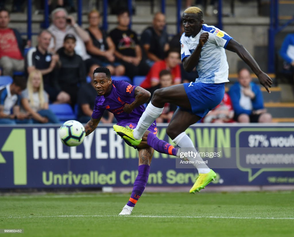 Nathaniel Clyne of Liverpool during the pre-season friendly match between Tranmere Rovers and Liverpool at Prenton Park on July 10, 2018 in Birkenhead, England.