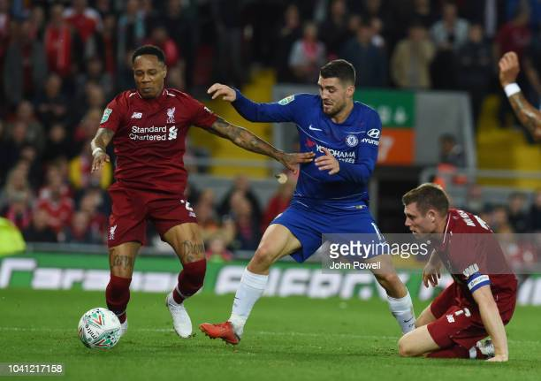 Nathaniel Clyne of Liverpool fights for the ball with Mateo Kovacic of Chelsea during the Carabao Cup Third Round match between Liverpool and Chelsea...