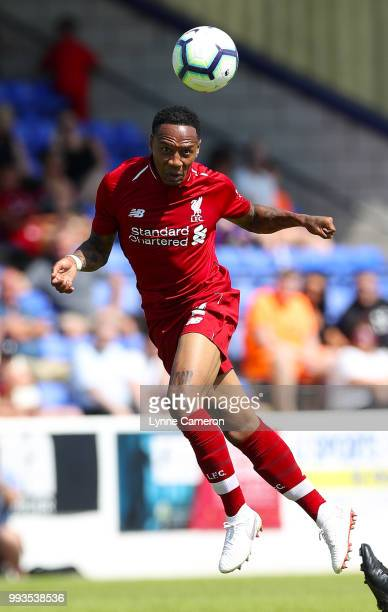 Nathaniel Clyne of Liverpool heads the ball during the Preseason friendly between Chester FC and Liverpool on July 7 2018 in Chester United Kingdom