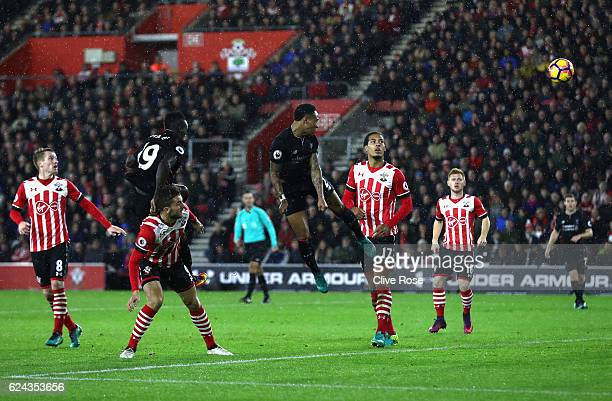 Nathaniel Clyne of Liverpool heads towads goal during the Premier League match between Southampton and Liverpool at St Mary's Stadium on November 19...