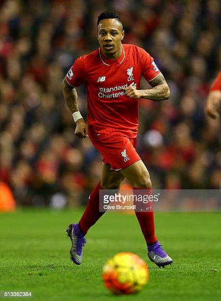 Nathaniel Clyne of Liverpool in action during the Barclays Premier League match between Liverpool and Manchester City at Anfield on March 2 2016 in...