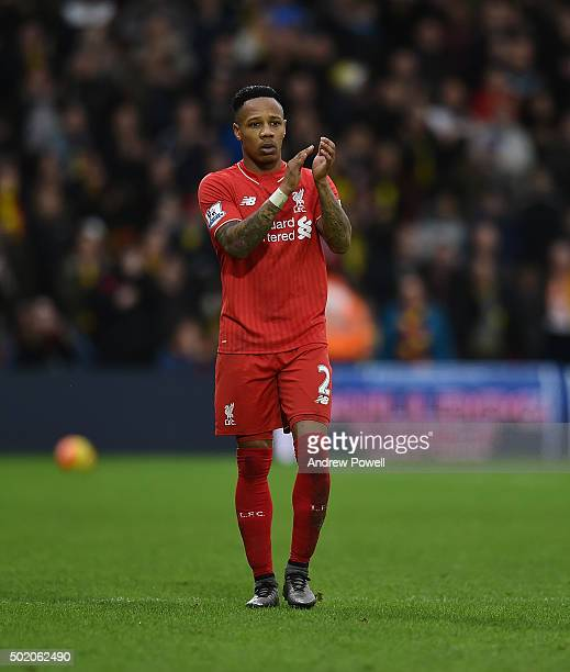 Nathaniel Clyne of Liverpool shows his appreciation to the fans at the end of the Barclays Premier League match between Watford and Liverpool at...