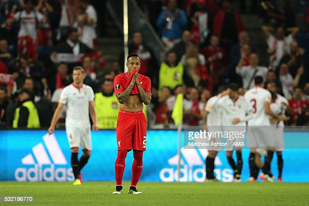 Nathaniel Clyne of Liverpool shows his dejection after Sevilla's second goal during the UEFA Europa League Final between Liverpool and Sevilla at St...