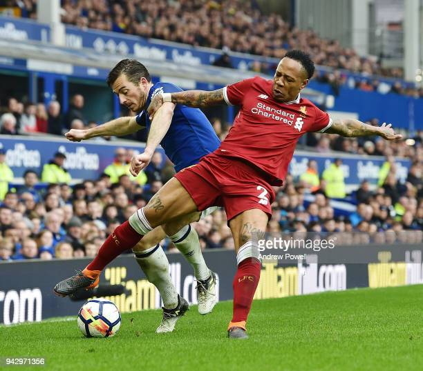 Nathaniel Clyne of Liverpool with Leighton Baines of Everton during the Premier League match between Everton and Liverpool at Goodison Park on April...