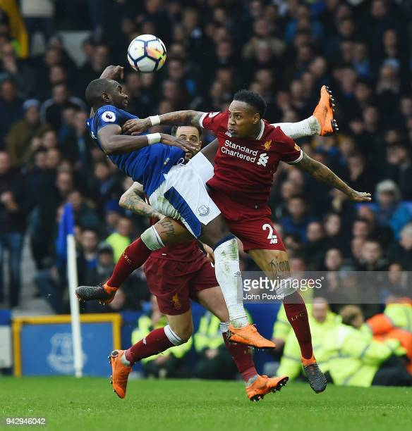 Nathaniel Clyne of Liverpool with Yannick Bolasie of Everton during the Premier League match between Everton and Liverpool at Goodison Park on April...