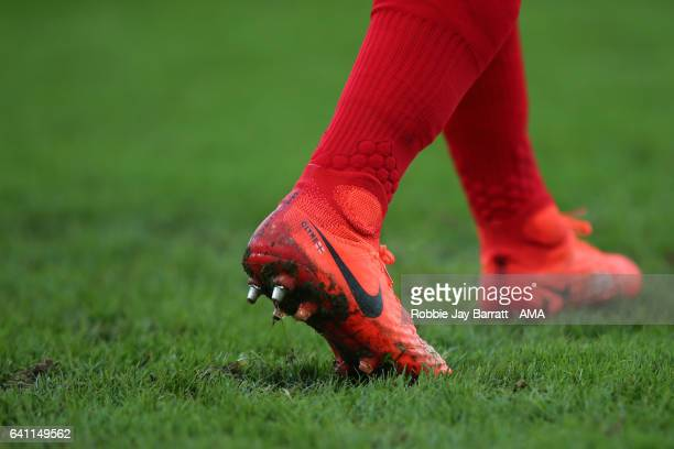 Nathaniel Clyne of Liverpool's Nike Magista football boots during the Premier League match between Hull City and Liverpool at KCOM Stadium on...