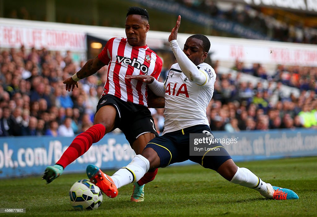 Nathaniel Clyne of Southampton battles for the ball with Danny Rose of Spurs during the Barclays Premier League match between Tottenham Hotspur and Southampton at White Hart Lane on October 5, 2014 in London, England.