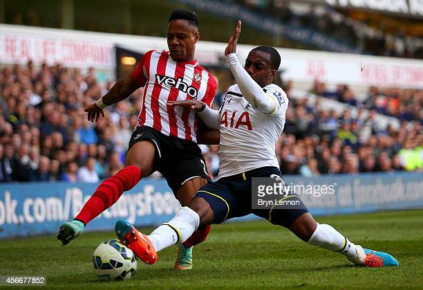 Nathaniel Clyne of Southampton battles for the ball with Danny Rose of Spurs during the Barclays Premier League match between Tottenham Hotspur and...