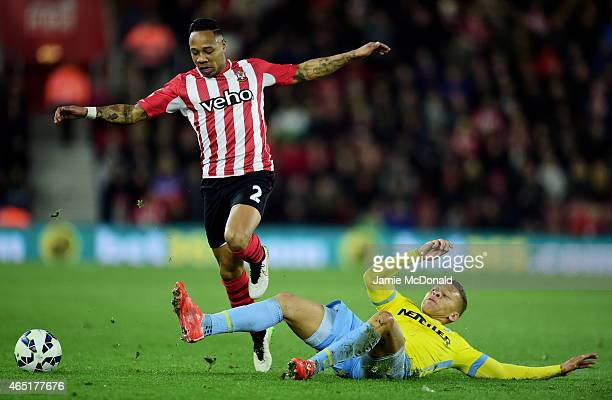 Nathaniel Clyne of Southampton is tackled by Dwight Gayle of Crystal Palace during the Barclays Premier League match between Southampton and Crystal...