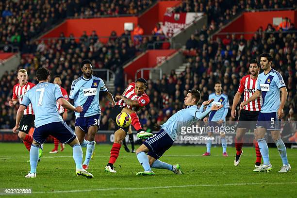 Nathaniel Clyne of Southampton shoots at goal during the Barclays Premier League match between Southampton and West Ham United at St Mary's Stadium...