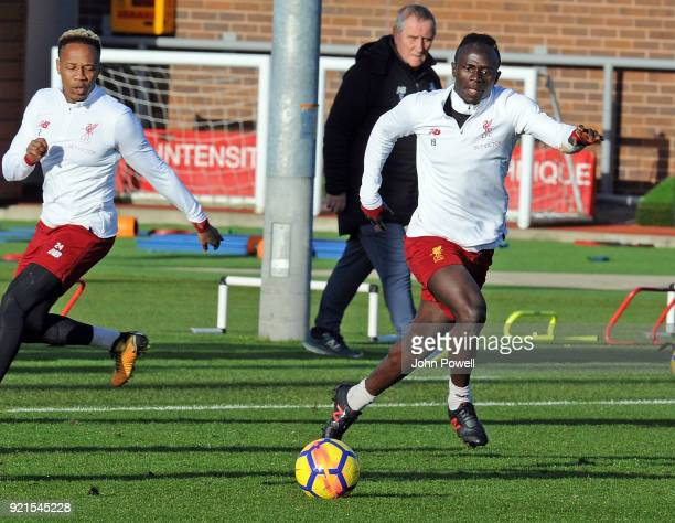 LIVERPOOL ENGLAND FEBRUARY 20Nathaniel Clyne with Sadio Mane of Liverpool during a training session at Melwood Training Ground on February 20 2018 in...