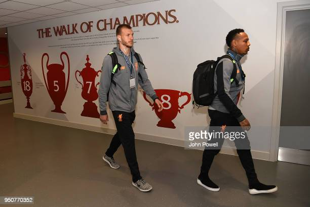 Nathaniel ClyneRagnar Klavan of Liverpool arrives before the UEFA Champions League Semi Final First Leg match between Liverpool and AS Roma at...