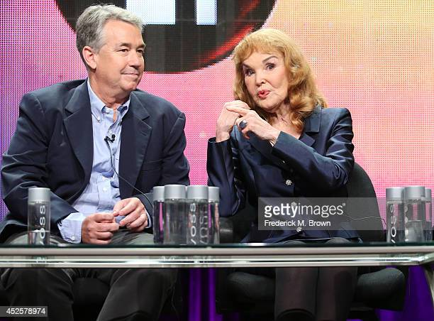 Nathaniel Crosby and Kathryn Crosby speak onstage during the AMERICAN MASTERS Bing Crosby Rediscovered panel during the PBS Networks portion of the...