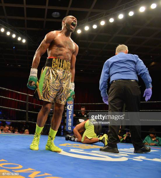 Nathaniel Gallimore celebrates after knocking down Jeison Rosario during their middleweight fight at Sam's Town Hotel Gambling Hall on April 29 2017...