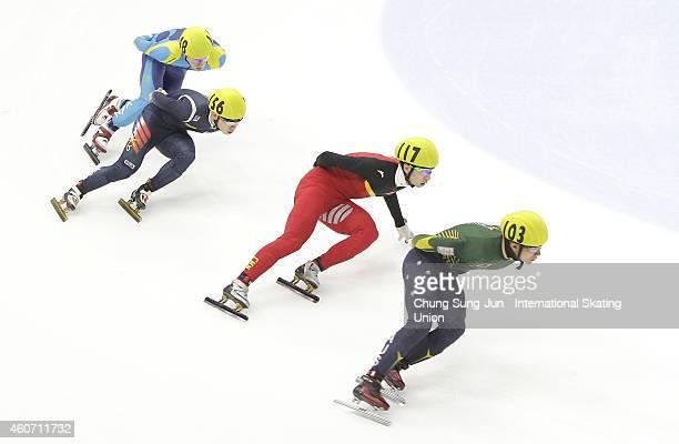 Nathaniel Henry of Australia Wu Daijing of China SeoYiRa of South Korea and Denis Nikisha of Kazakhstan compete in the Men 5000M Relay Semifinals...
