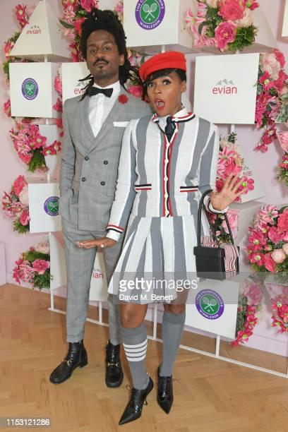 Nathaniel Irvin and Janelle Monae attend the evian Live Young suite at The Championships, Wimbledon 2019 on July 1, 2019 in Wimbledon, England.