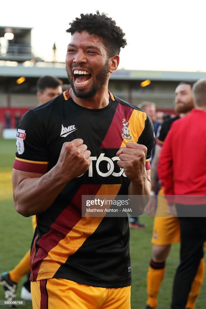 Nathaniel Knight-Percival of Bradford City celebrates winning the Sky Bet League One Playoff Semi Final: First Leg match between Fleetwood Town and Bradford City at Highbury Stadium on May 7, 2017 in Fleetwood, England.