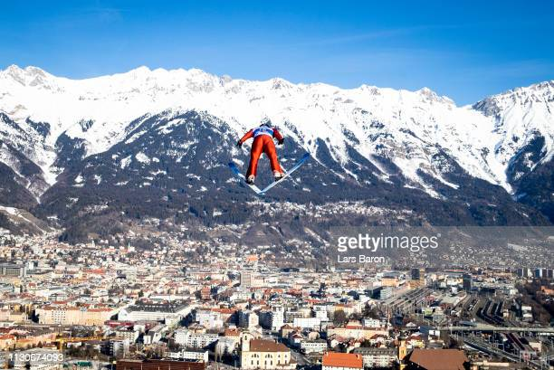 Nathaniel Mah of Canada jumps during the ski jumping training for the Nordic Combined ahead of the FIS Nordic World Ski Championships the on February...