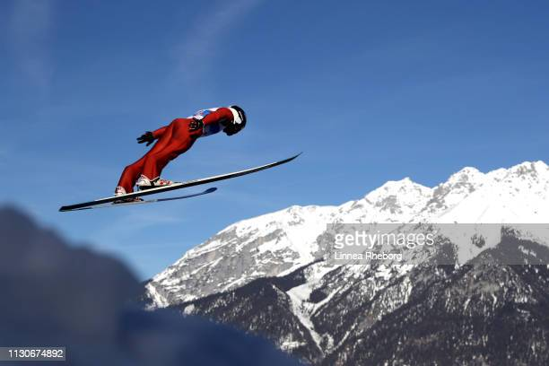 Nathaniel Mah of Canada jumps during the ski jumping training for the Nordic Combined ahead of the FIS Nordic World Ski Championships on February 19...