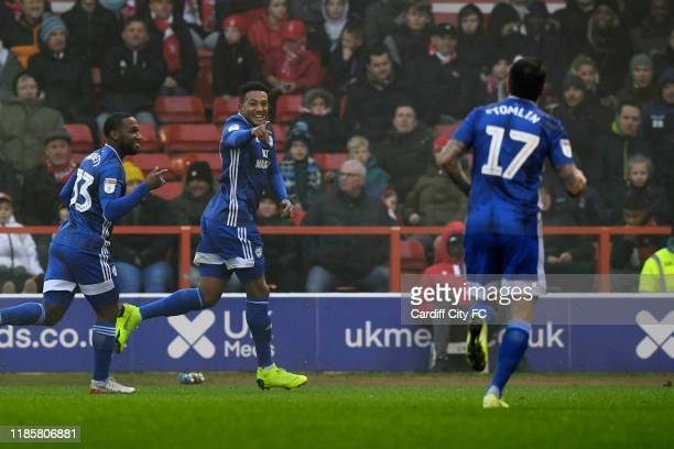 Nathaniel MendezLaing celebrates his goal during the Sky Bet Championship match between Nottingham Forest and Cardiff City at City Ground on November...