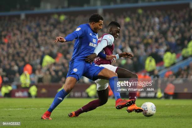 Nathaniel MendezLaing of Cardiff City and Axel Tuanzebe of Aston Villa during the Sky Bet Championship match between Aston Villa v Cardiff City at...