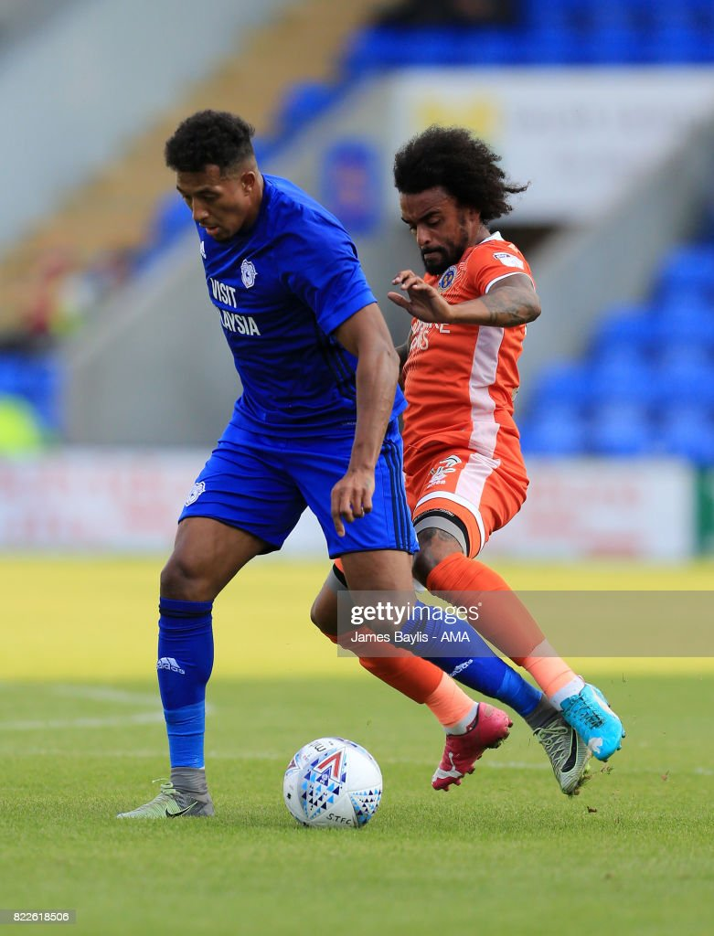 Nathaniel Mendez-Laing of Cardiff City and Junior Brown of Shrewsbury Town during the pre-season friendly between Shrewsbury Town and Cardiff City at The Montgomery Waters Meadow on July 25, 2017 in Shrewsbury, England.