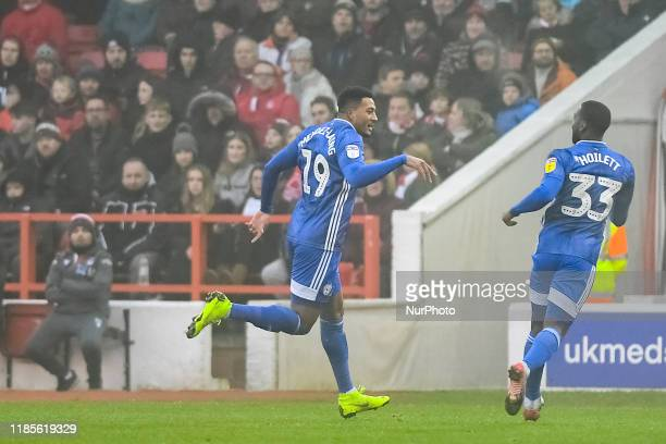 Nathaniel MendezLaing of Cardiff City celebrates after scoring a goal to make it 01 during the Sky Bet Championship match between Nottingham Forest...