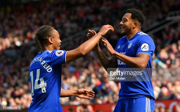 Nathaniel MendezLaing of Cardiff City celebrates after scoring his team's first goal during the Premier League match between Manchester United and...