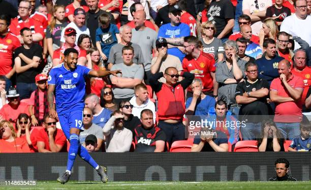 Nathaniel MendezLaing of Cardiff City celebrates after scoring his team's second goal during the Premier League match between Manchester United and...