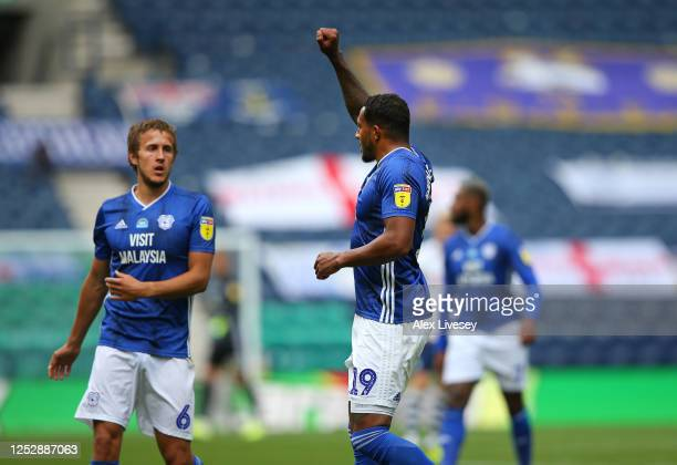 Nathaniel MendezLaing of Cardiff City celebrates after scoring their second goal during the Sky Bet Championship match between Preston North End and...