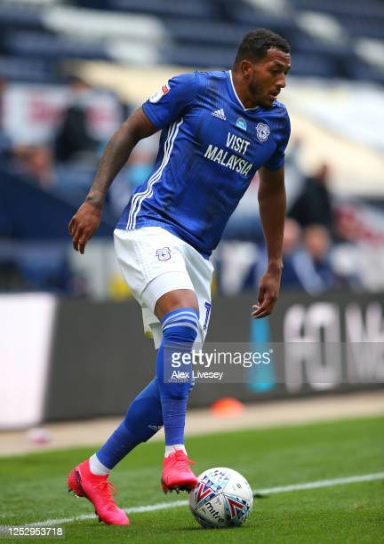 Nathaniel MendezLaing of Cardiff City during the Sky Bet Championship match between Preston North End and Cardiff City at Deepdale on June 27 2020 in...