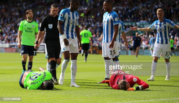 Nathaniel MendezLaing of Cardiff City FC and Ben Hamer of Huddersfield Town during the Premier League match between Huddersfield Town and Cardiff...
